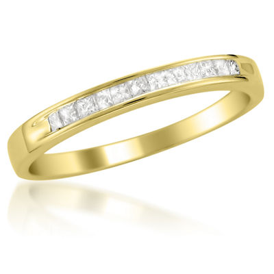 Womens 2mm 1/4 CT. T.W. White Diamond 14K Gold Wedding Band