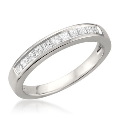 Womens 3 Mm 1/2 CT. T.W. White Diamond Platinum Wedding Band