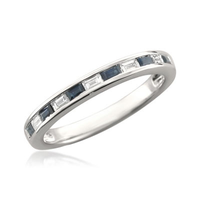 Modern Bride Gemstone Womens 2 Mm 1/4 CT. T.W. Blue Sapphire 14K Gold Wedding Band