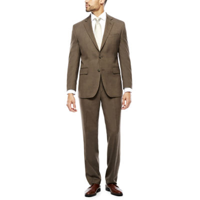 Stafford Travel Stretch Brown Sharkskin Classic Fit Suit Separates