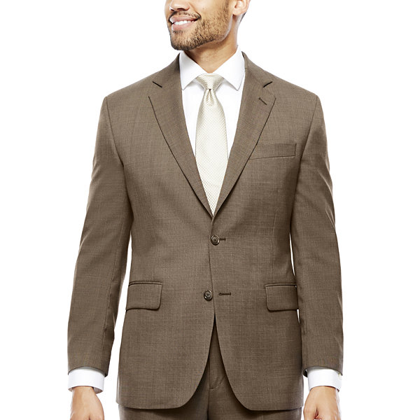 Stafford® Travel Wool Blend Stretch Brown Sharkskin Suit Separates ... f7216f14b3cd6