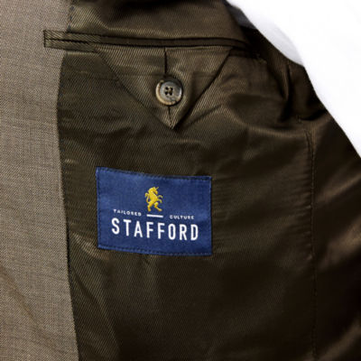 Stafford® Travel Wool Blend Brown Sharkskin Classic Fit Jacket
