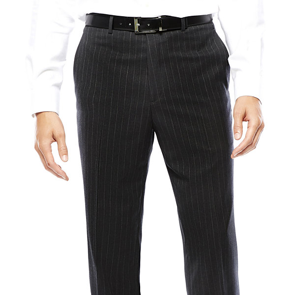 Stafford® Super 100 Charcoal Chalk-Stripe Flat-Front Wool Suit Pants - Classic Fit