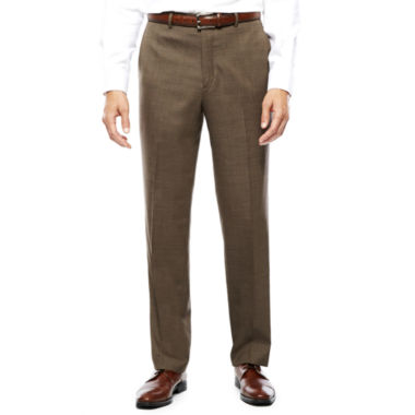 Stafford® Travel Wool Blend Brown Sharkskin Flat-Front Pants-Classic Fit