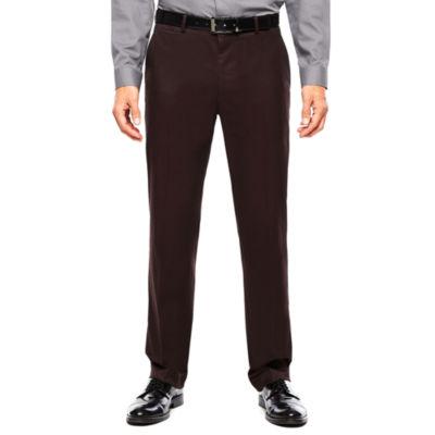 JF J. Ferrar® Burgundy Twill Flat-Front Suit Pants - Slim Fit