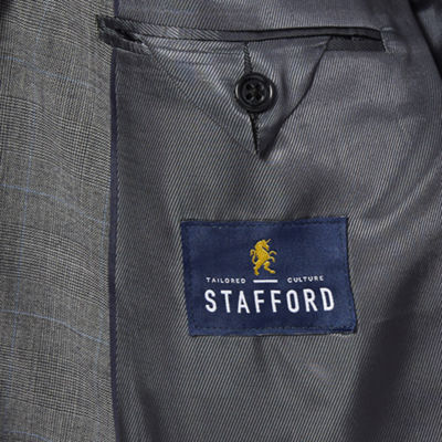 Stafford® Super 100 Gray Glen Check Wool Suit Jacket - Big & Tall