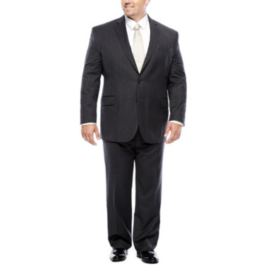 jcpenney.com | Stafford® 100% Wool Super 100s Charcoal Chalk-Stripe Suit Separates - Portly Fit