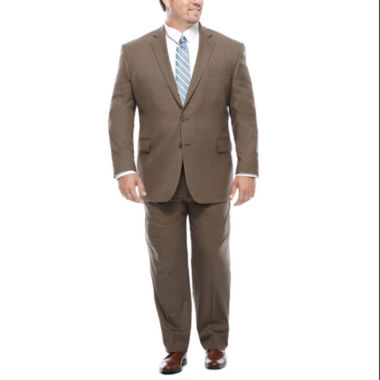 jcpenney.com | Stafford® Travel Wool Blend Stretch Brown Sharkskin-Big & Tall