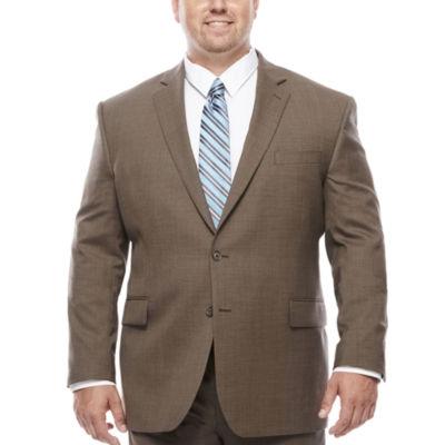 Stafford® Travel Wool Blend Stretch Brown Sharkskin - Big & Tall Jacket