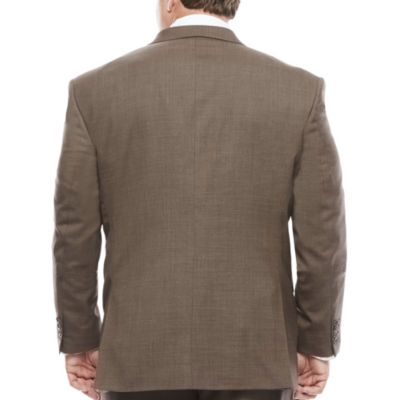 Stafford® Travel Wool Blend Stretch Brown Sharkskin - Big & Tall Jacket