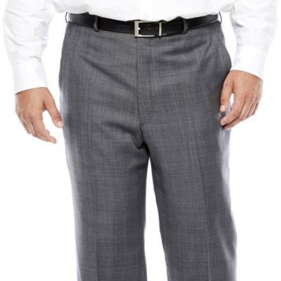 Stafford® Super 100 Gray Glen Check Flat-Front Wool Suit Pants - Big & Tall