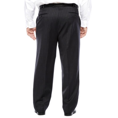Stafford® Charcoal Chalk Stripe Flat-Front Suit Pants - Big & Tall