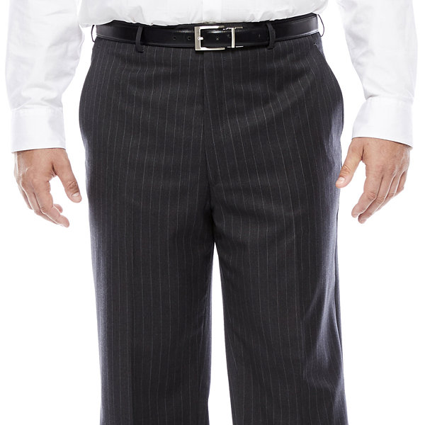 Stafford® Super 100 Charcoal Chalk-Stripe Flat-Front Wool Suit Pants - Portly