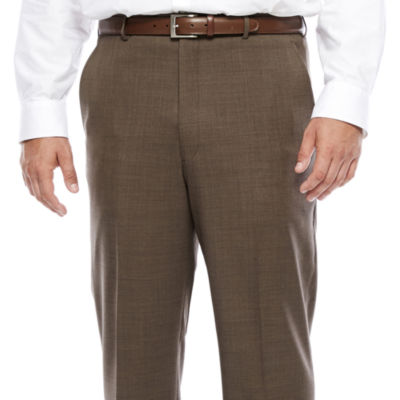Stafford® Travel Wool Blend Brown Sharkskin Flat-Front Pant-Big and Tall
