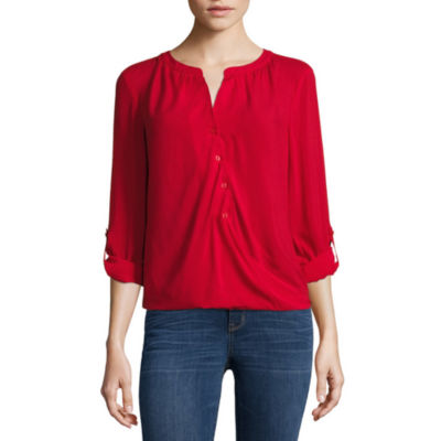 a.n.a® Tab-Sleeve Wrap-Front Blouse - Petite