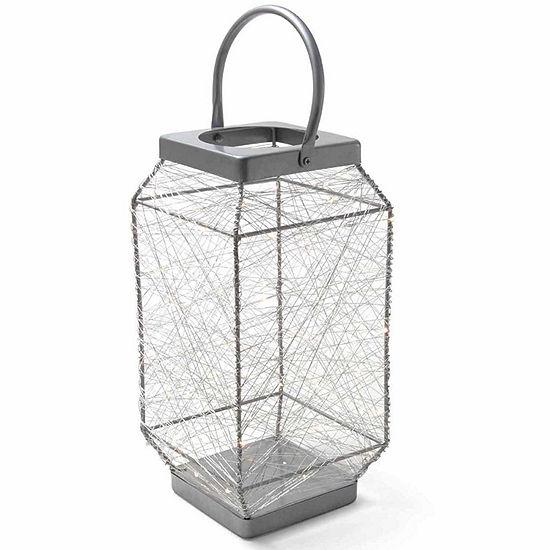 "Elements® 16"" Silver String-Light LED Lantern"