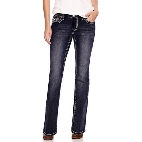 Love Indigo Embellished-Pocket Jeans - Petite