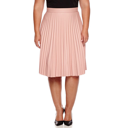 Ashley Nell Tipton for Boutique+ Pleated Faux-Leather Skirt - Plus