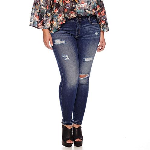 """Boutique+ 5-Pocket Destructed Skinny Jeans 29"""" - Plus"""