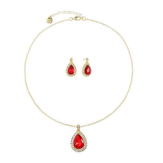 Monet Jewelry Red Gold Tone 2-pc. Jewelry Set