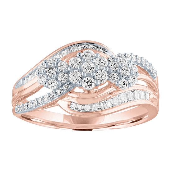 Diamond Blossom Womens 1/2 CT. T.W. Genuine Diamond 10K Rose Gold Cocktail Ring