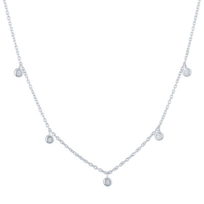 """""""Happily Ever After"""" Womens 1/10 CT. T.W. Genuine Diamond Sterling Silver Strand Necklace"""