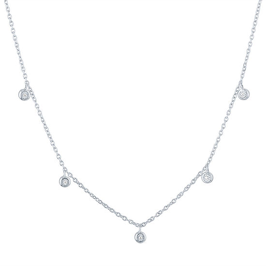 Womens 1/10 CT. T.W. Genuine Diamond Sterling Silver Strand Necklace
