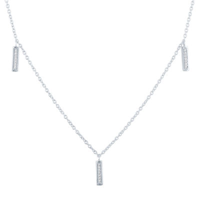 """Boss Babe"" Womens Diamond Accent Genuine Diamond Sterling Silver Strand Necklace"