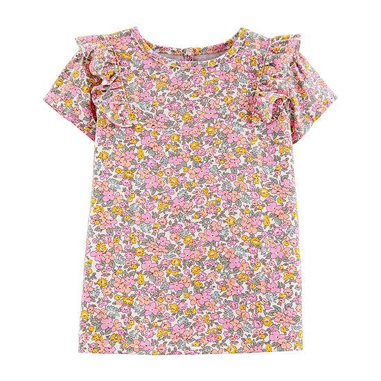 Oshkosh Round Neck Short Sleeve Blouse Toddler Girls