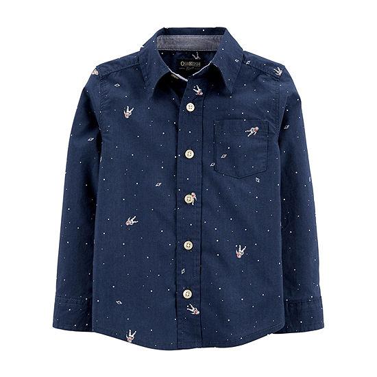 Oshkosh Long Sleeve Button-Front Shirt Toddler Boys