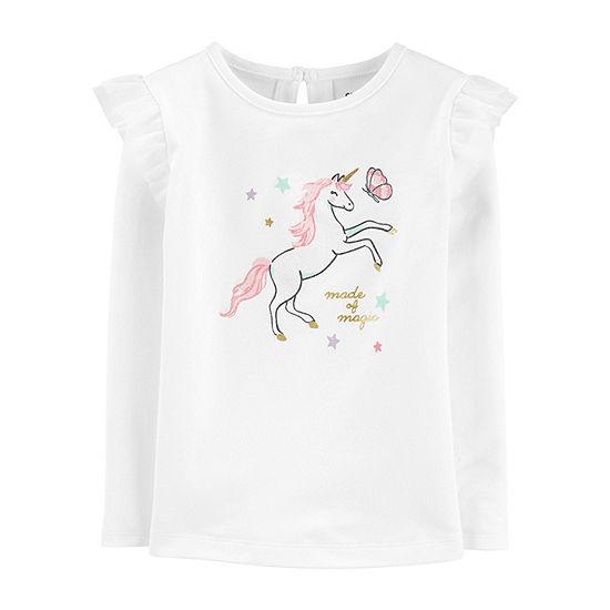 Carter's Girls Crew Neck Long Sleeve Graphic T-Shirt-Toddler