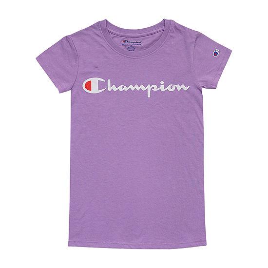 Champion Girls Crew Neck Short Sleeve Graphic T-Shirt - Big Kid