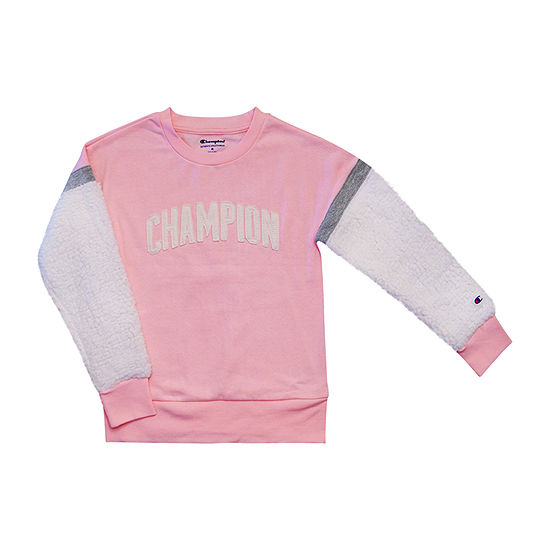 Champion Faux Sherpa Girls Crew Neck Long Sleeve Sweatshirt - Big Kid