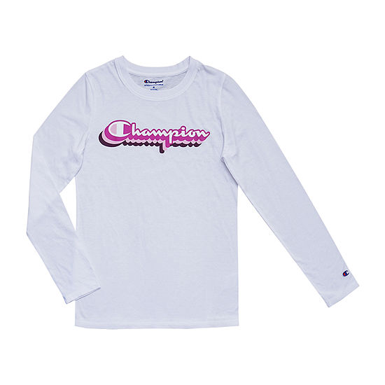 Champion Girls Crew Neck Long Sleeve Graphic T-Shirt - Big Kid