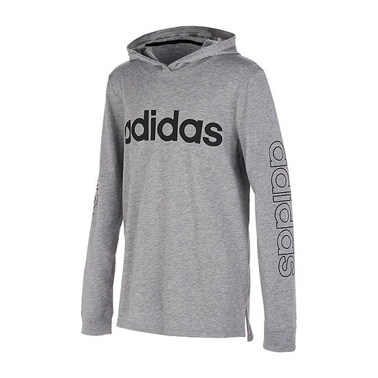 adidas Hooded Boys Hooded Neck Long Sleeve T-Shirt-Big Kid