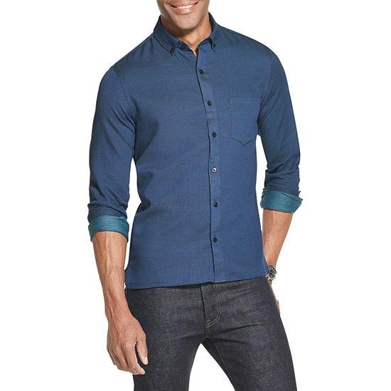Van Heusen Slim Never Tuck Mens Long Sleeve Plaid Button-Down Shirt