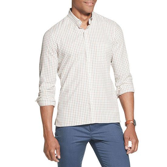 Van Heusen Never Tuck Mens Long Sleeve Plaid Button-Front Shirt Slim