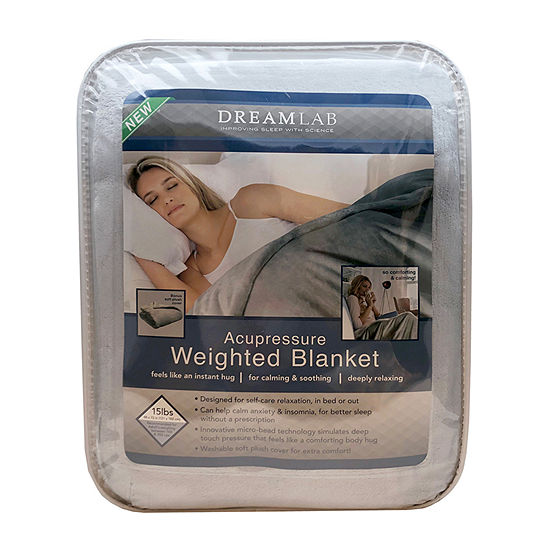 Dream Lab Acupressure 15lbs Weighted Plush Blanket with Removable Cover