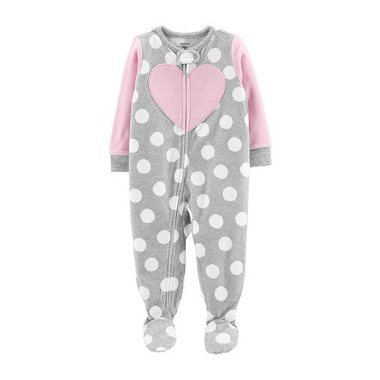 Carter's Girls Fleece Long Sleeve Crew Neck One Piece Pajama