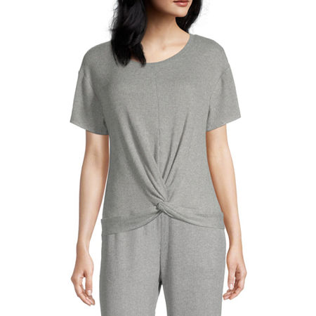Ambrielle Twist Front Womens Pajama Top Round Neck, Medium , Gray