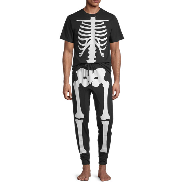Skeleton Family Mens Pant Pajama Set 2-pc. Short Sleeve