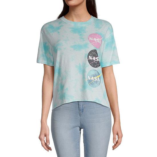 Juniors Womens Crew Neck Short Sleeve Tie-dye Graphic T-Shirt