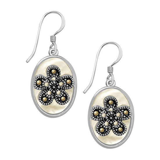 Sparkle Allure Mother Of Pearl Pure Silver Over Brass Flower Drop Earrings