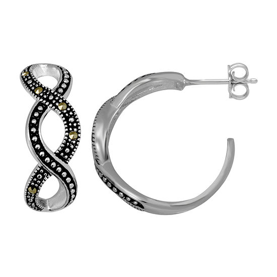 Sparkle Allure Crystal Pure Silver Over Brass Hoop Earrings