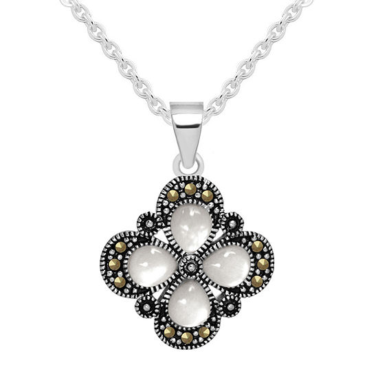 Sparkle Allure Mother Of Pearl Pure Silver Over Brass 18 Inch Cable Flower Pendant