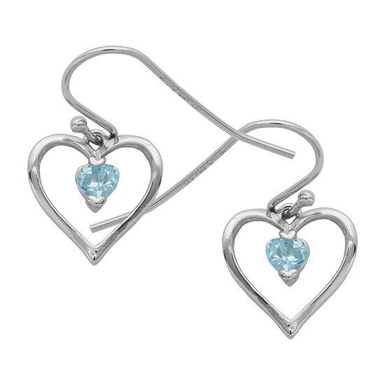 Silver Treasures Topaz Sterling Silver Heart Drop Earrings