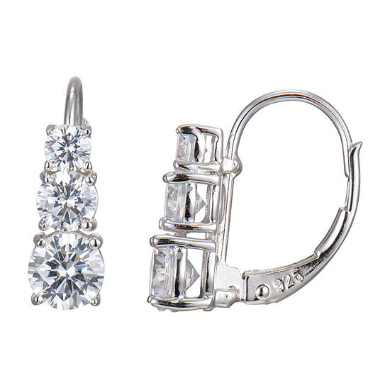 Silver Treasures Cubic Zirconia Platinum Over Silver Round Hoop Earrings