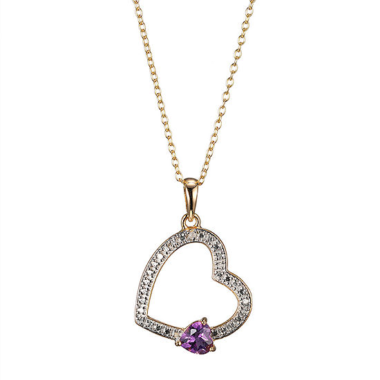 Silver Treasures Amethyst 14K Gold Over Silver 18 Inch Cable Heart Pendant Necklace