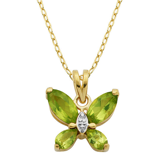 Silver Treasures Peridot 18K Gold Over Silver 18 Inch Cable Butterfly Pendant Necklace