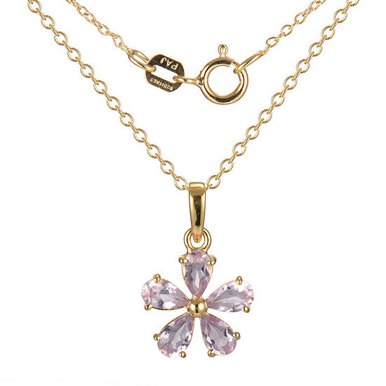 Silver Treasures Amethyst 18K Gold Over Silver 18 Inch Cable Flower Pendant Necklace